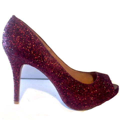 Womens Sparkly Burgundy Maroon Peep Toe Glitter high low Heels wedding bride shoes