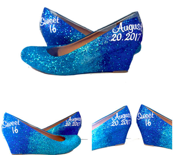 Women's Sparkly Blue ombre Glitter wedge Heels wedding bride prom shoes Personalized