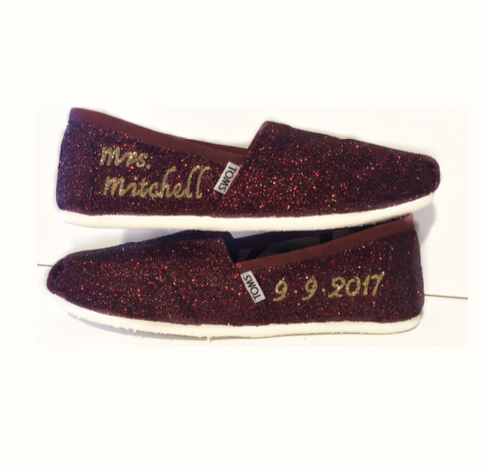 Womens Sparkly Glitter Toms Flats shoes Bride Wedding Burgundy Maroon champagne gold
