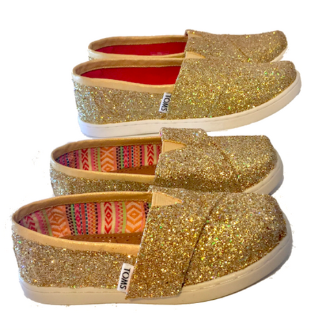 Kids Toddlers Girls Sparkly Glitter Tiny Toms Flats shoes Champagne Pale Gold