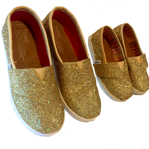 Kids Toddlers Girls Sparkly Glitter Toms Flats shoes Champagne Pale Gold