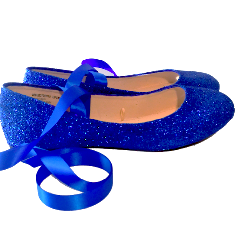 Sparkly Royal Blue Glitter Ballet Flats shoes wedding bride Womens Satin Tie up Bow