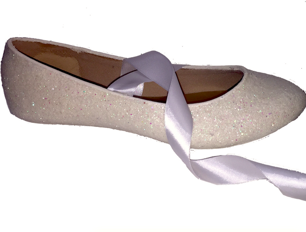 Womens Sparkly Ivory or White Glitter Ballet Flats bride wedding low shoes satin ribbon tie ballerina