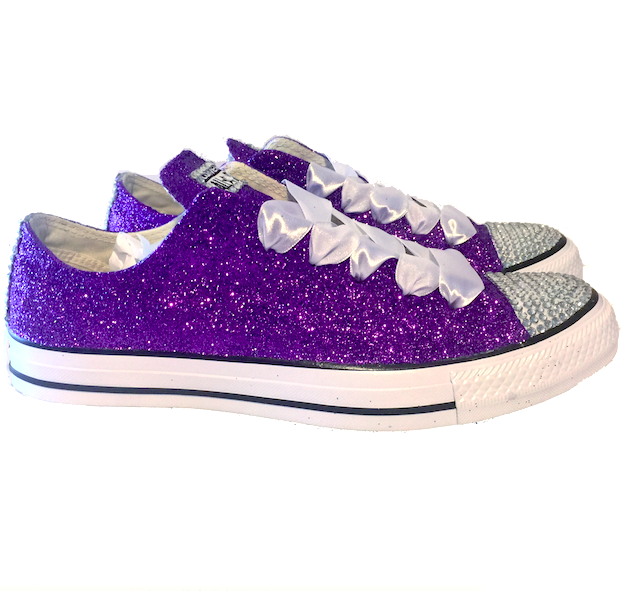 ... Womens Sparkly Glitter Bling Crystals Converse All Stars Purple Bride  Wedding shoes Prom ... a54ad96694