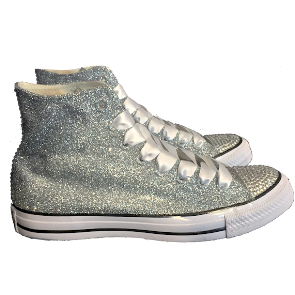 1147da24c5a267 ... Women s Sparkly Glitter Converse All Stars Silver Sterling Bling High  Top Wedding Bride Shoes ...