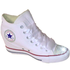 Womens Converse All Stars White Wedge Heel Bling Crystals Bride Wedding Shoes
