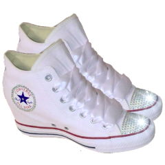 Converse All Stars White Wedge Heels Bling Bride Wedding Prom Sneakers Shoes 64799a9319