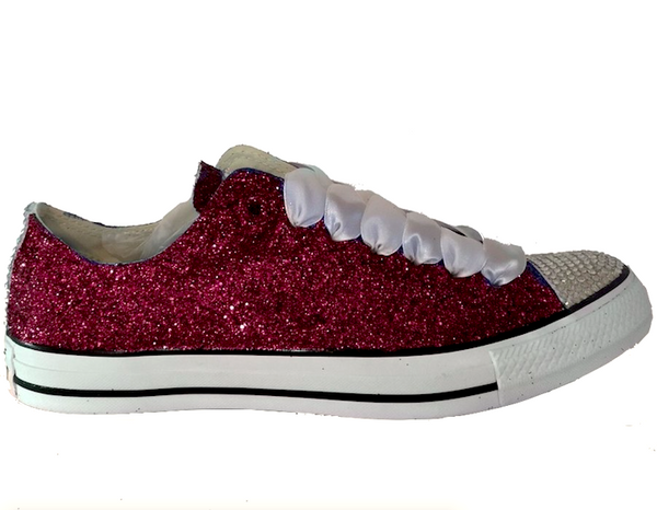 Women's Sparkly Glitter Converse All Stars low TEXAS AM Burgundy Maroon