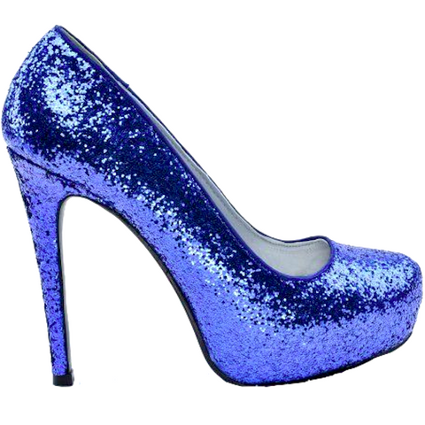 Women's Sparkly Royal Blue Glitter high & low Heels wedding bride bridal prom shoes