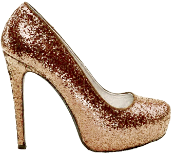 Women's Sparkly Bronze Copper Glitter high low Heels wedding bride shoes prom bridal