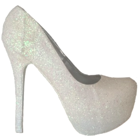 Womens Sparkly White or Ivory Glitter Pumps high low Heels Wedding bride Shoes