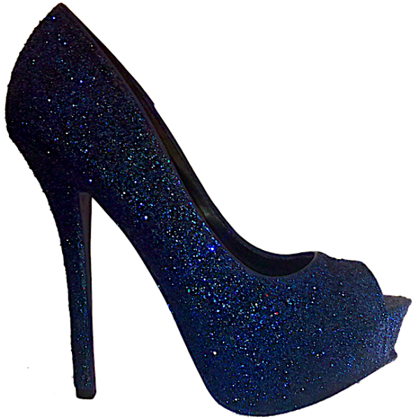 new product 81ca3 86ac0 ... Women s Sparkly Navy Blue Glitter Peep Toe Heels Pumps shoes wedding  bride ...