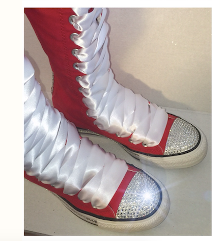 Women's Knee High Lace up bling Converse All Star Sneakers Shoes Cheerleader Wedding Prom