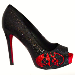 Women's black red sparkly glitter heels harley quinn halloween costume shoes