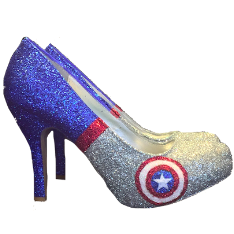 Women's Sparkly SuperHero Blue Silver Red Glitter Heels Pumps shoes Captain America