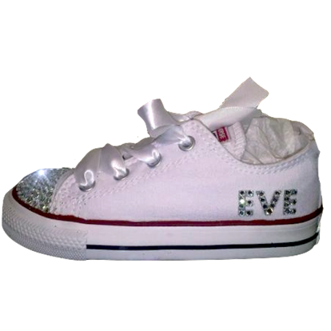 de4d03338600 Toddler girls White Converse All Star Sneakers 1st Birthday sparkly bling  bow shoes