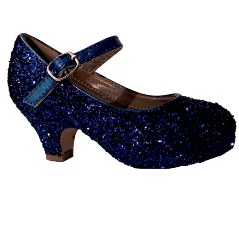 Girls Sparkly Glitter Mary Jane Heels Flower Girl Birthday Gift Pageant Shoes Navyl Blue