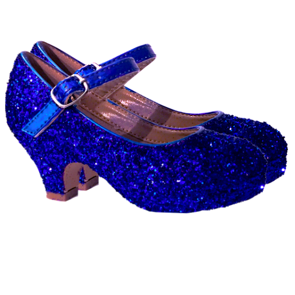 Girls Sparkly Glitter Mary Jane Heels Flower Girl Birthday Gift Pageant Shoes Royal Blue