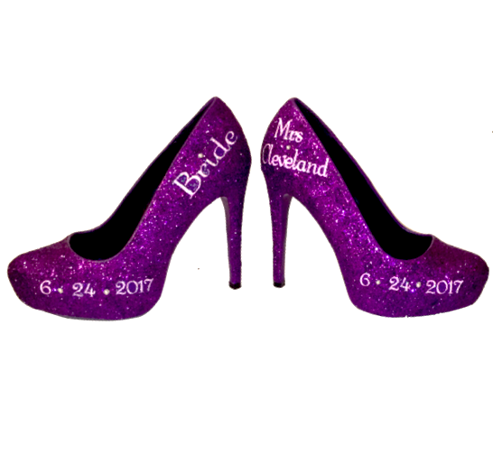 Womens Sparkly Purple Glitter Pumps Heels wedding bride shoes Personalized