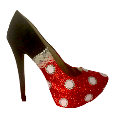 Women's Sparkly Glitter Heels Black Red White Polka Dot Minnie Princess Pumps Shoes