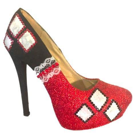 Women's Sparkly Glitter Red Black White Heels Harley Quinn Batman Superhero Wedding Bride Shoes