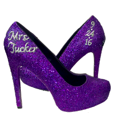 Women's Sparkly Plum Dark Purple Glitter high or low Heels Pumps wedding bride prom shoes