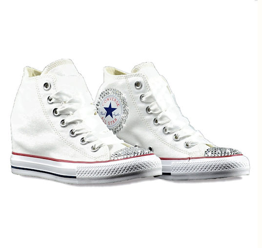 Converse All Stars White Wedge Heels Bling Bride Wedding Prom Sneakers Shoes
