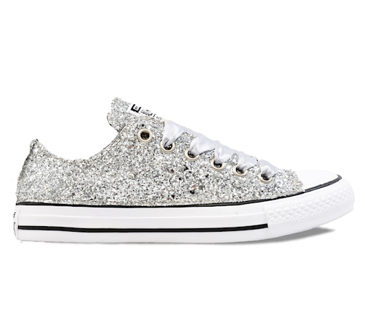 Womens Sparkly Silver Glitter Converse All Stars Chucks Sneakers wedding Shoes - Glitter Shoe Co