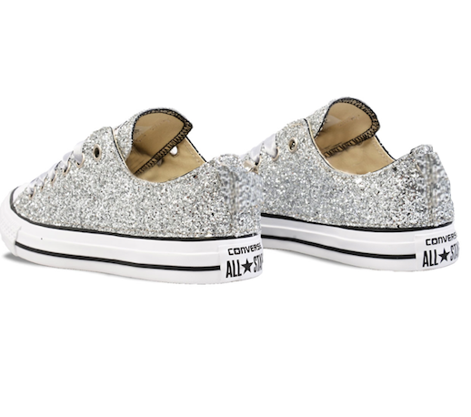 Womens Sparkly Silver Glitter Crystals Converse Shoes