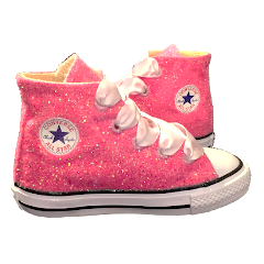 Kids Sparkly Glitter Converse All Stars Bling Crystals Flower Girls birthday Shoes Pink