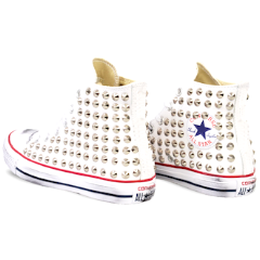 Women's Converse All Stars White Silver Studded Sneakers Shoes low or High Top Studs