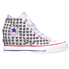 Women's Converse All Stars White Silver Studded Sneakers Shoes High Top Wedge Heel Studs