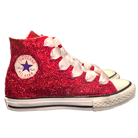 Kids Sparkly Glitter Converse All Stars High Top Sneakers Shoes red