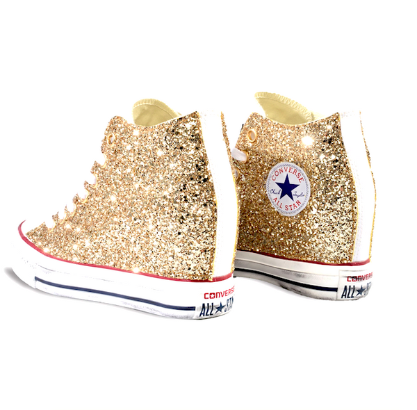 Gold Glitter Converse Lux Wedge Heels shoes sneakers Prom Wedding Pale