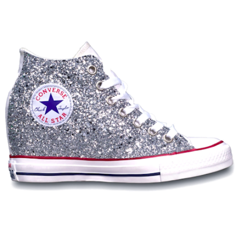 Women's Sparkly Glitter Converse All Stars Lux Wedge Heel Silver