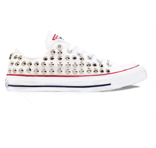 Women's Converse All Stars White Silver Studded Sneakers Shoes low Studs