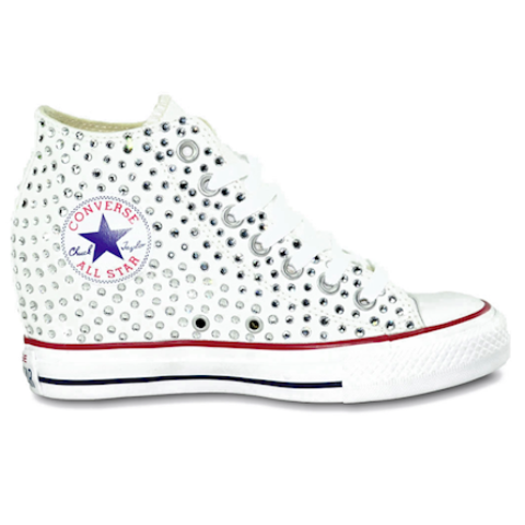 8dff7f981256 Converse All Stars White Wedge Heels Bling Bride Wedding Prom Sneakers Shoes