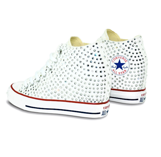 2ec0a5f94ba8bc ... Converse All Stars White Wedge Heels Bling Bride Wedding Prom Sneakers  Shoes