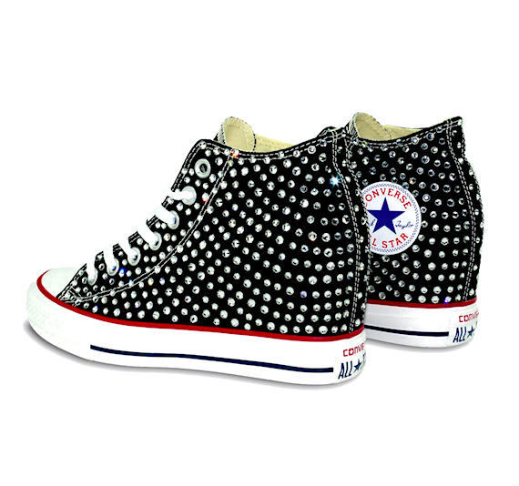 Womens Converse All Stars Black Lux Wedge Heel Bling Crystals Bride Wedding Sneakers Shoes