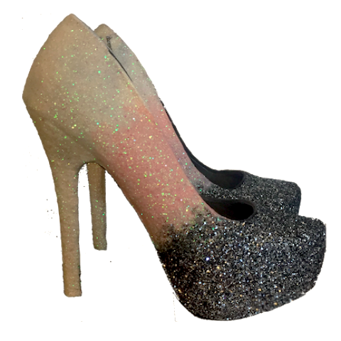 e1f6cdeaabd Women s Sparkly Pink White Silver Ombre Glitter Heels wedding bride prom  shoes