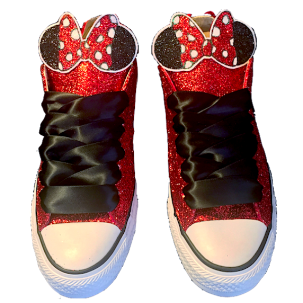 Womens Sparkly Glitter Crystals Converse All Stars Red shoes wedding bride prom Minnie Mouse