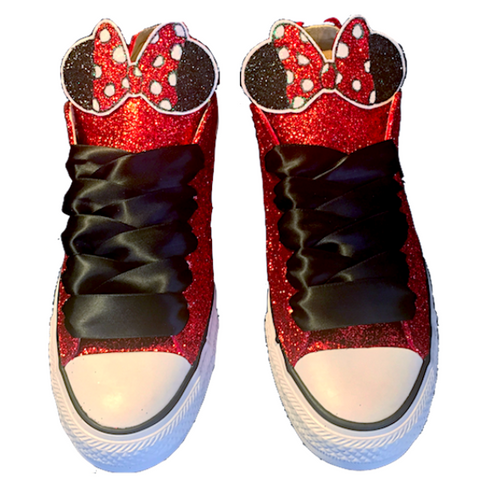 Womens Sparkly Glitter Crystals Converse All Stars Red shoes wedding bride  prom Minnie Mouse b8fa1e90d