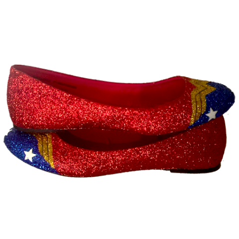 Women's Sparkly Wonder Woman Superhero glitter ballet flats shoes wedding bride gift