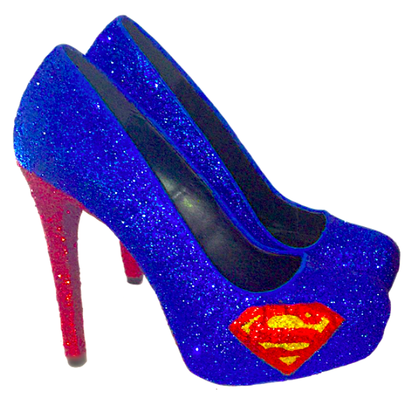 Women's Superman Sparkly SuperHero Royal Blue Glitter Heels wedding bride pumps shoes - Glitter Shoe Co