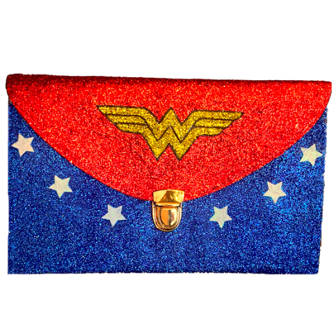 Women's Sparkly SuperHero Glitter Clutch Purse Gold Blue Red  White Wonder Woman