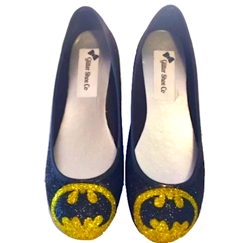 Women's Sparkly black Glitter Ballet Flats Superhero shoes Batman wedding bride prom