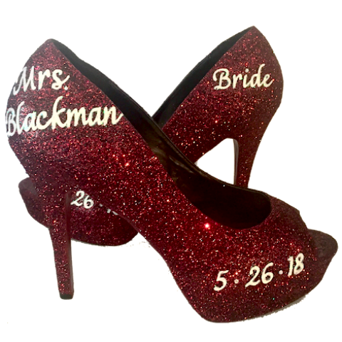 Women's Sparkly Burgundy Wine Glitter Heels wedding bride Pumps shoes Personalized