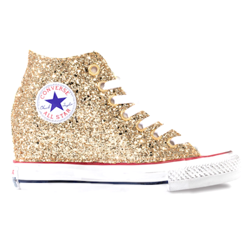 b36b35baab76 Women s Sparkly Gold Glitter Converse All Stars Lux Wedge Heel Wedding  Bride Shoes