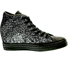 Sparkly Gunmetal Silver Black Glitter Converse All Stars Wedge Heel Wedding Bride Shoes