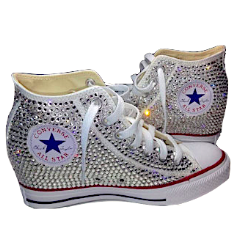 Womens Sparkly Converse All Stars WEDGE Heel Bling Crystals Bride Wedding Shoes